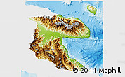 Physical 3D Map of Morobe, single color outside