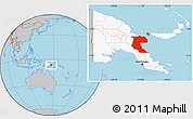 Gray Location Map of Morobe, highlighted country