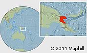 Savanna Style Location Map of Morobe, hill shading