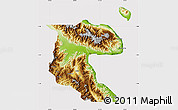 Physical Map of Morobe, cropped outside