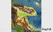 Physical Map of Morobe, darken