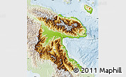 Physical Map of Morobe, lighten