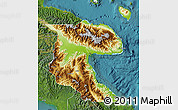 Physical Map of Morobe, satellite outside