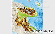 Physical Map of Morobe, shaded relief outside