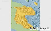 Savanna Style Map of Morobe, single color outside