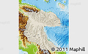 Shaded Relief Map of Morobe, physical outside
