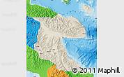 Shaded Relief Map of Morobe, political outside