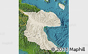 Shaded Relief Map of Morobe, satellite outside