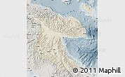 Shaded Relief Map of Morobe, semi-desaturated