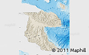 Shaded Relief Map of Morobe, single color outside