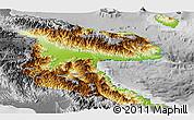 Physical Panoramic Map of Morobe, desaturated
