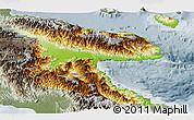 Physical Panoramic Map of Morobe, semi-desaturated