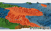 Political Panoramic Map of Morobe, darken
