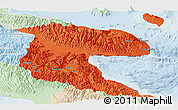 Political Panoramic Map of Morobe, lighten