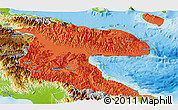 Political Panoramic Map of Morobe, physical outside