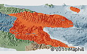 Political Panoramic Map of Morobe, semi-desaturated