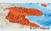 Political Panoramic Map of Morobe, shaded relief outside