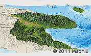 Satellite Panoramic Map of Morobe, shaded relief outside