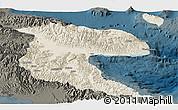 Shaded Relief Panoramic Map of Morobe, darken