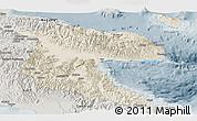 Shaded Relief Panoramic Map of Morobe, semi-desaturated