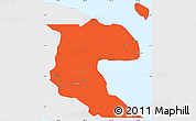 Political Simple Map of Morobe, single color outside