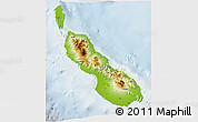 Physical 3D Map of Northern Solomons, lighten