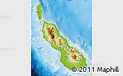 Physical Map of Northern Solomons, shaded relief outside
