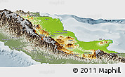 Physical Panoramic Map of Northern, semi-desaturated