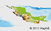 Physical Panoramic Map of Northern, single color outside