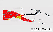 Flag Panoramic Map of Papua New Guinea, flag aligned to the middle