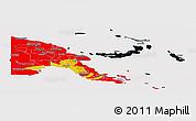 Flag Panoramic Map of Papua New Guinea, flag rotated