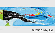 Flag Panoramic Map of Papua New Guinea, physical outside