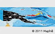 Flag Panoramic Map of Papua New Guinea, political shades outside