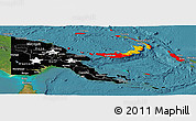 Flag Panoramic Map of Papua New Guinea, satellite outside