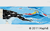 Flag Panoramic Map of Papua New Guinea, shaded relief outside