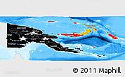 Flag Panoramic Map of Papua New Guinea, single color outside, bathymetry sea