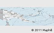 Gray Panoramic Map of Papua New Guinea