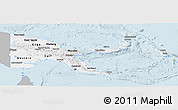 Gray Panoramic Map of Papua New Guinea, single color outside