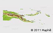 Physical Panoramic Map of Papua New Guinea, cropped outside