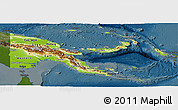 Physical Panoramic Map of Papua New Guinea, darken