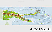 Physical Panoramic Map of Papua New Guinea, lighten