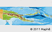 Physical Panoramic Map of Papua New Guinea, political outside, shaded relief sea