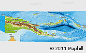 Physical Panoramic Map of Papua New Guinea, political shades outside, shaded relief sea