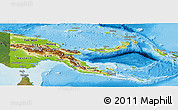 Physical Panoramic Map of Papua New Guinea, satellite outside, shaded relief sea