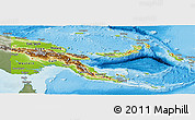 Physical Panoramic Map of Papua New Guinea, semi-desaturated, land only