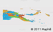 Political Panoramic Map of Papua New Guinea, cropped outside