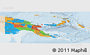 Political Panoramic Map of Papua New Guinea, lighten