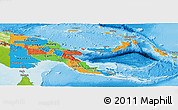 Political Panoramic Map of Papua New Guinea, physical outside