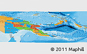 Political Panoramic Map of Papua New Guinea