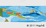 Political Panoramic Map of Papua New Guinea, satellite outside, bathymetry sea